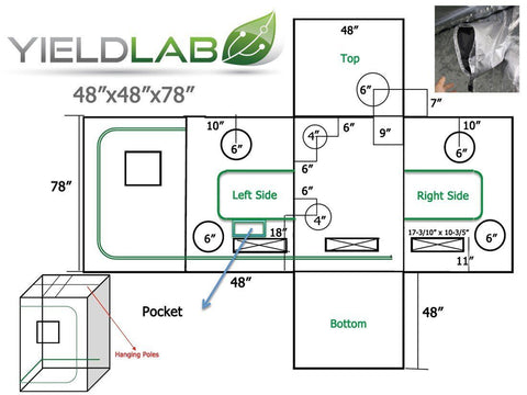 "Image of Yield Lab 48"" x 48"" x 78"" Grow Tent diagram"