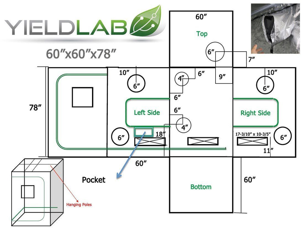 "Yield Lab 60"" x 60"" x 78"" Grow Tent diagram"