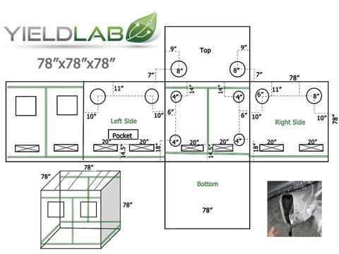 "Image of Yield Lab 78"" x 78"" x 78"" Grow Tent diagram"