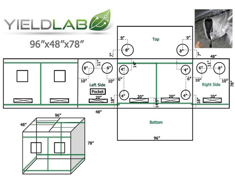 "Yield Lab 96"" x 48"" x 78"" Grow Tent diagram"