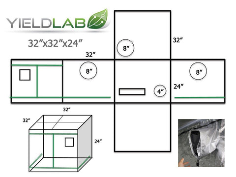 "Yield Lab grow tent 32"" by 32"" by 24"" diagram"