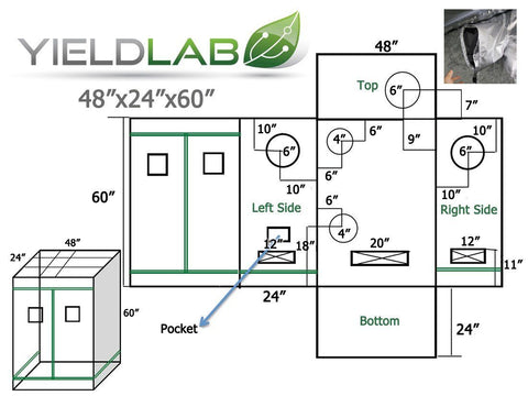 "Yield Lab 48"" by 24"" by 60"" Reflective Grow Tent diagram"