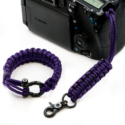 """Purple Diamond"" Camera Strap System Black Hardware - Osiris & Co."
