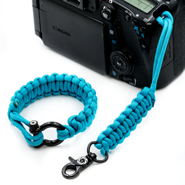 """Sky Blue"" Camera Strap System Black Hardware - Osiris & Co."