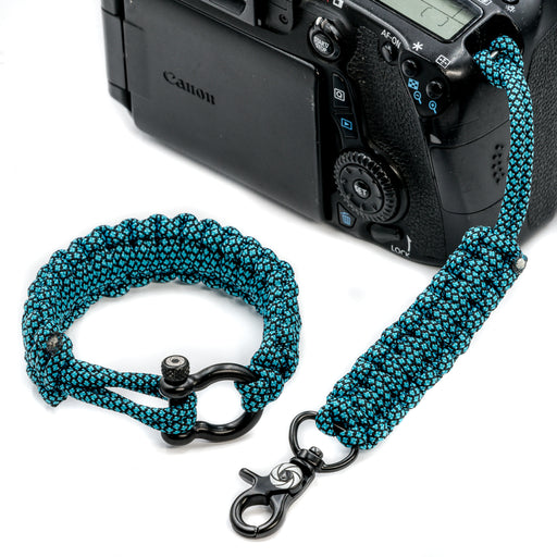 """Blue Diamond"" Camera Strap System Black Hardware - Osiris & Co."