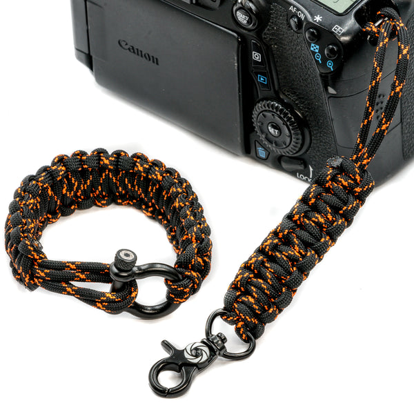 """Orange Tracer"" Camera Strap System Black Hardware - Osiris & Co."
