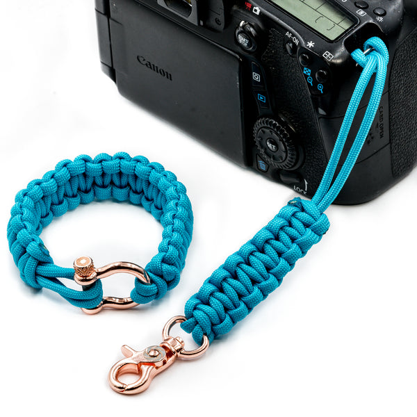 """Sky Blue"" Camera Strap System Rose Gold Hardware - Osiris & Co."