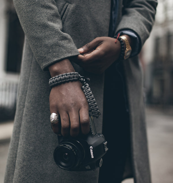 """Graphite"" Camera Strap System Black Hardware - Osiris & Co."