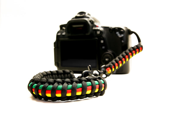 """Rasta"" Reversible Camera Strap System Black Hardware - Osiris & Co."