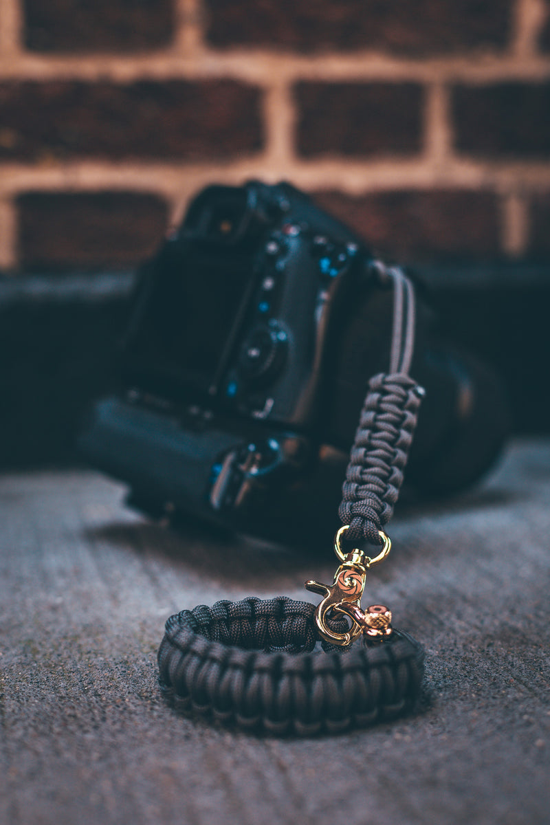 """Graphite"" Camera Strap System Gold Hardware - Osiris & Co."