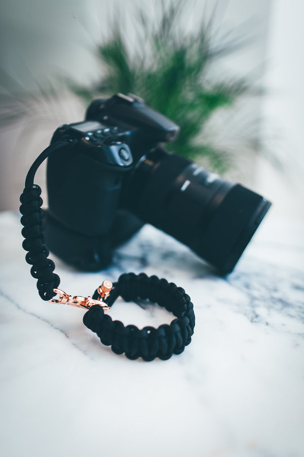 """Black"" Camera Strap System Rose Gold Hardware - Osiris & Co."