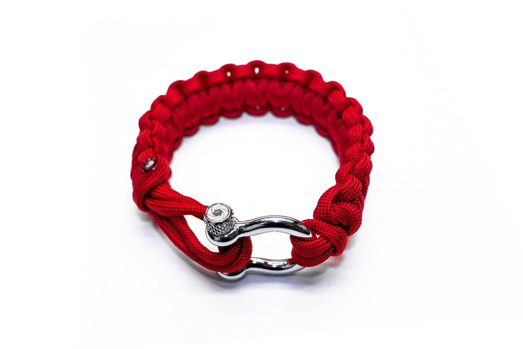 """Valor Red"" Bracelet Silver Hardware - Osiris & Co."