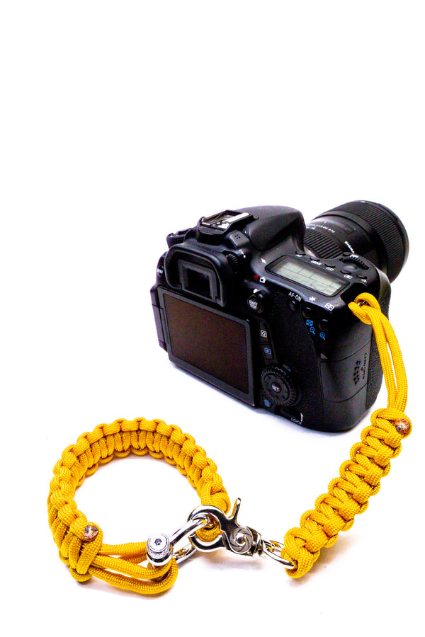 """Yellow"" Camera Strap System Silver Hardware - Osiris & Co."