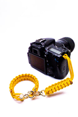 """Yellow"" Camera Strap System Gold Hardware - Osiris & Co."