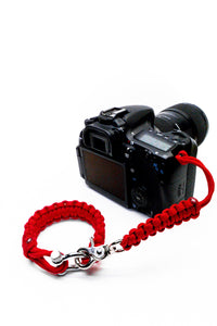 """Valor Red"" Complete Camera Strap System Silver Hardware - Osiris & Co."