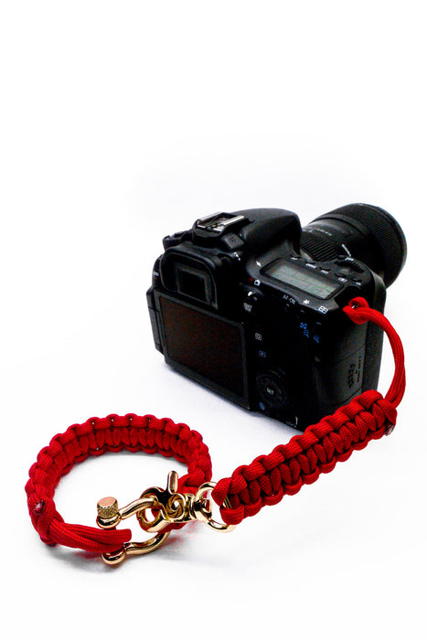 """Valor Red"" Camera Strap System Gold Hardware - Osiris & Co."