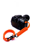 """Orange Flare"" Complete Camera Strap System Black Hardware - Osiris & Co."