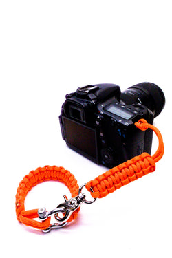 """Orange Flare"" Camera Strap System Silver Hardware - Osiris & Co."
