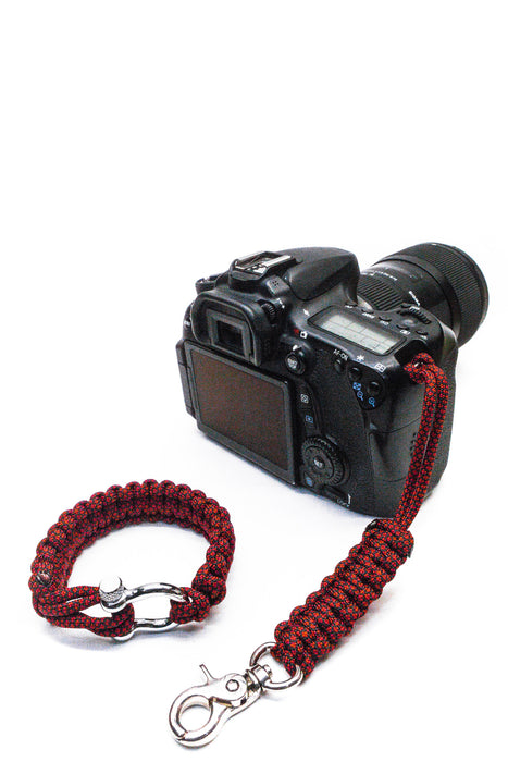 """Red Diamond"" Camera Strap System Silver Hardware - Osiris & Co."