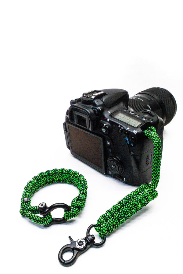"""Green Diamond"" Camera Strap Black Hardware - Osiris & Co."