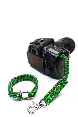 """Green Diamond"" Camera Strap Silver Hardware - Osiris & Co."