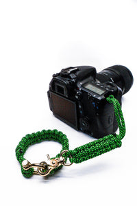 """Green Diamond"" Complete Camera Strap System Gold Hardware - Osiris & Co."