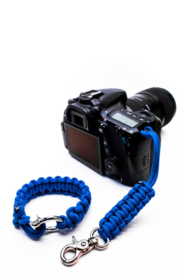 """Blue"" Camera Strap System Silver Hardware - Osiris & Co."