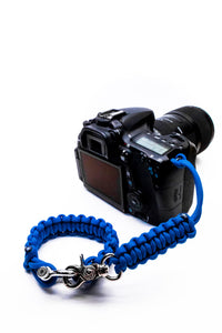 """Blue"" Complete Camera Strap System Silver Hardware - Osiris & Co."