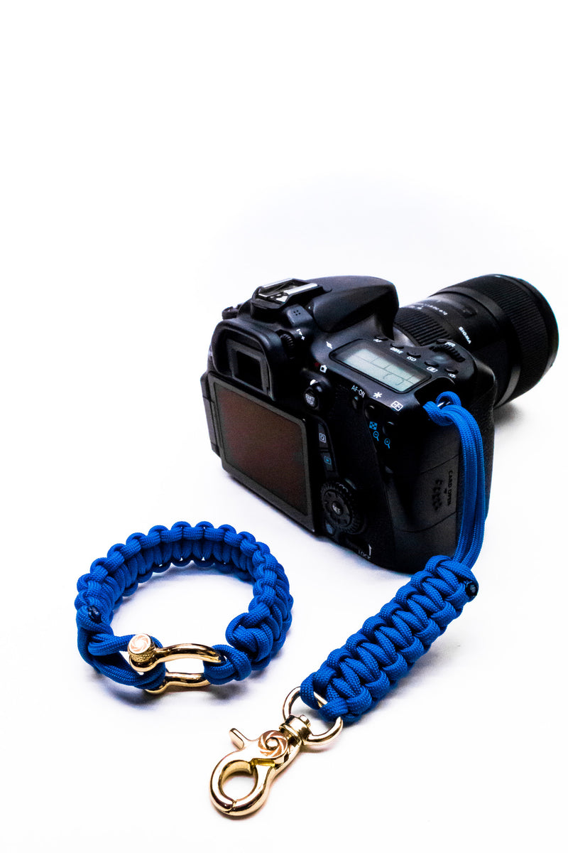 """Blue"" Camera Strap System Gold Hardware - Osiris & Co."