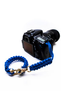 """Blue"" Complete Camera Strap System Gold Hardware - Osiris & Co."