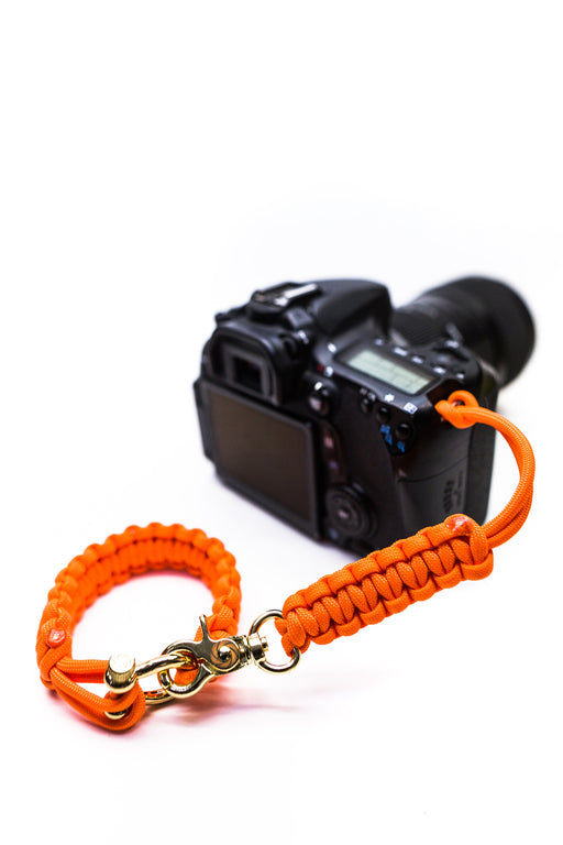 """Orange Flare"" Camera Strap System Gold Hardware - Osiris & Co."
