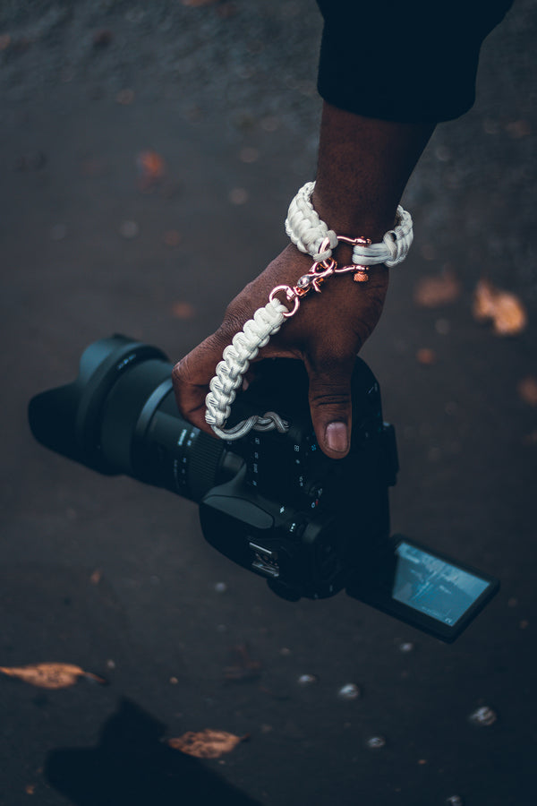 """White"" Camera Strap System Rose Gold Hardware - Osiris & Co."