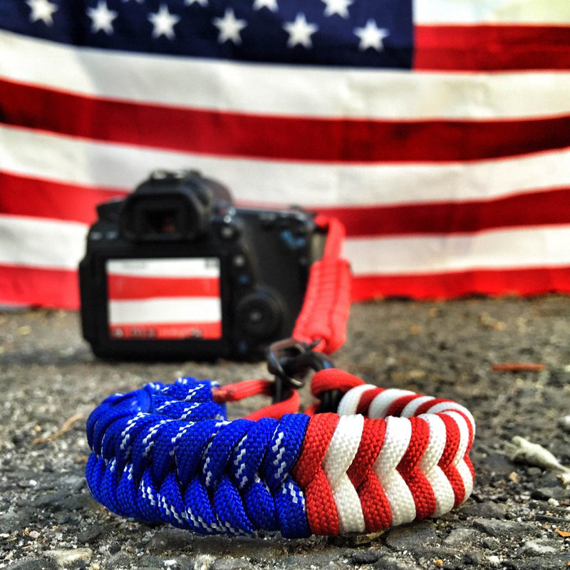 """USA Pride"" Switchback Complete Camera Strap System Black Hardware - Osiris & Co."