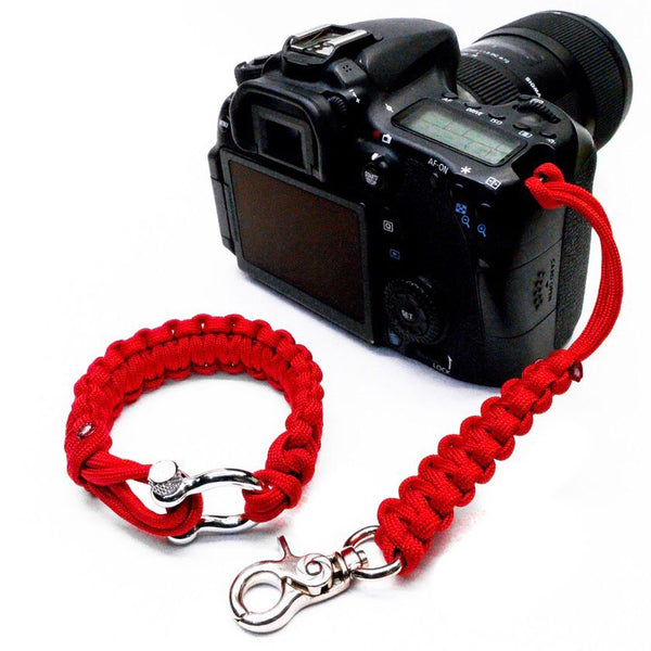 """Valor Red"" Camera Strap System Silver Hardware - Osiris & Co."