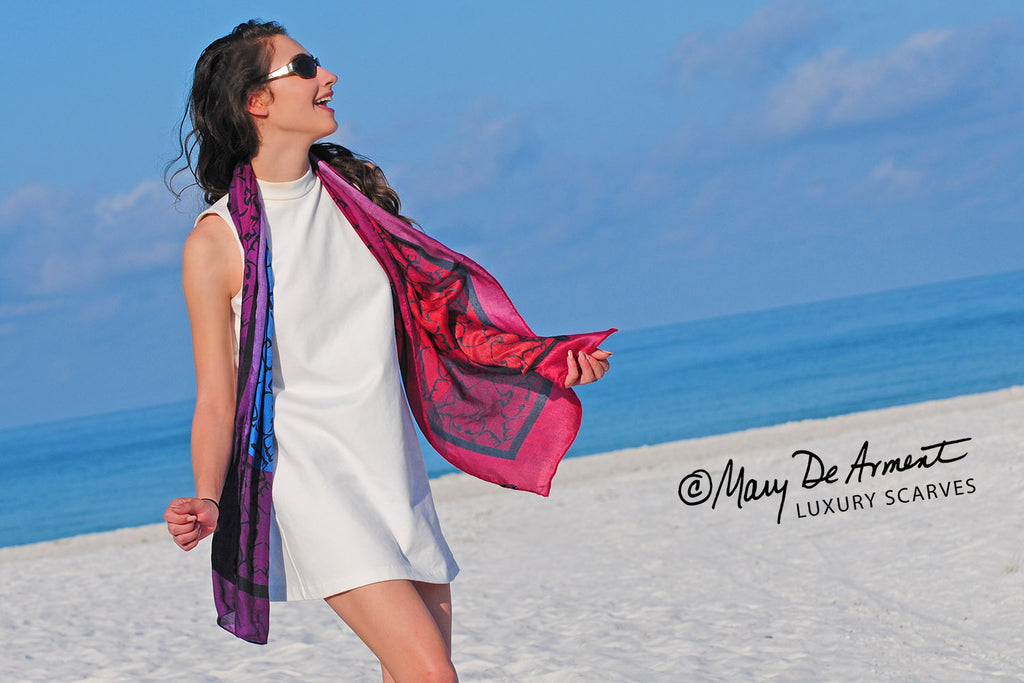arabic peace oblong scarves cashmere scarf purple red blue fashion designer mary DeArment luxury accessory luxe gift