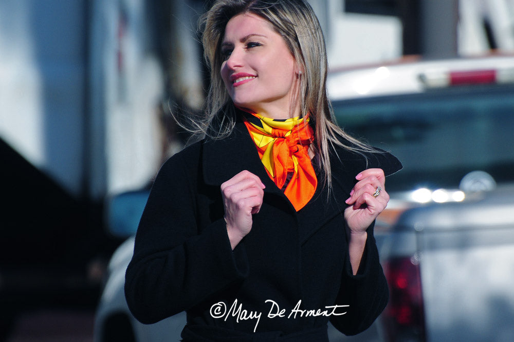 aspen city orange black yellow scarf silk scarves headscarves luxury gift luxe gifts square designer mary DeArment
