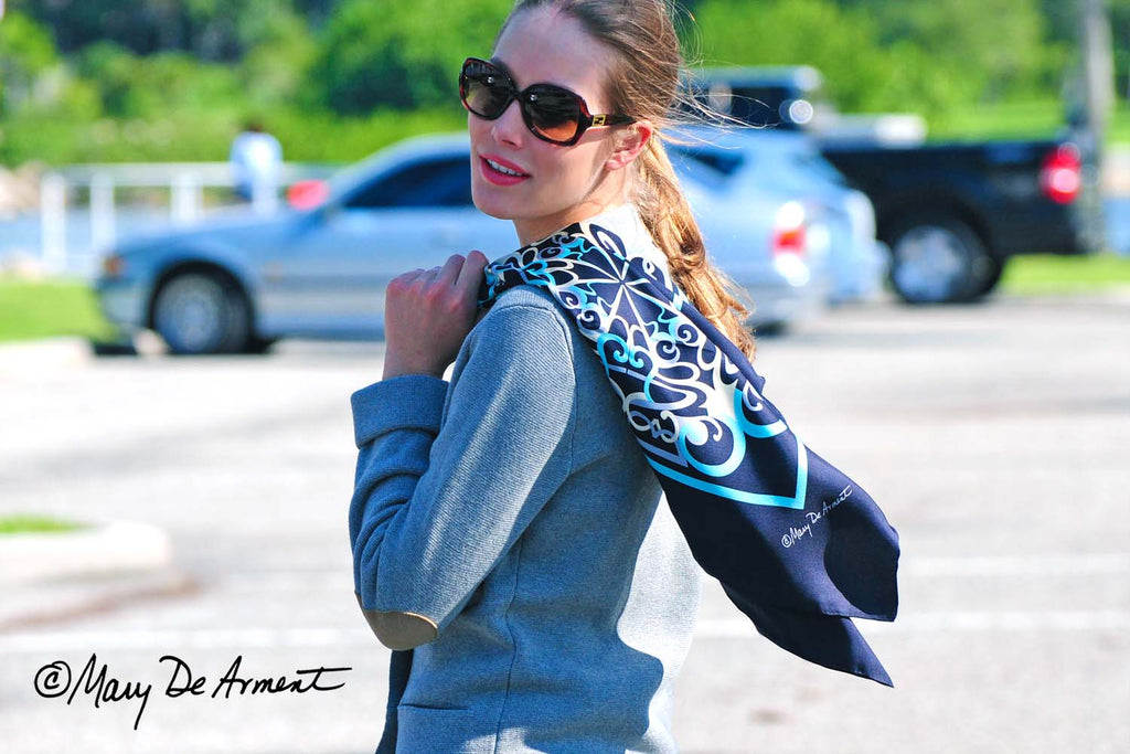 cannon beach city silk scarf black turquoise designer fashion  mary DeArment luxury accessory luxe gift corporate gifts custom designs