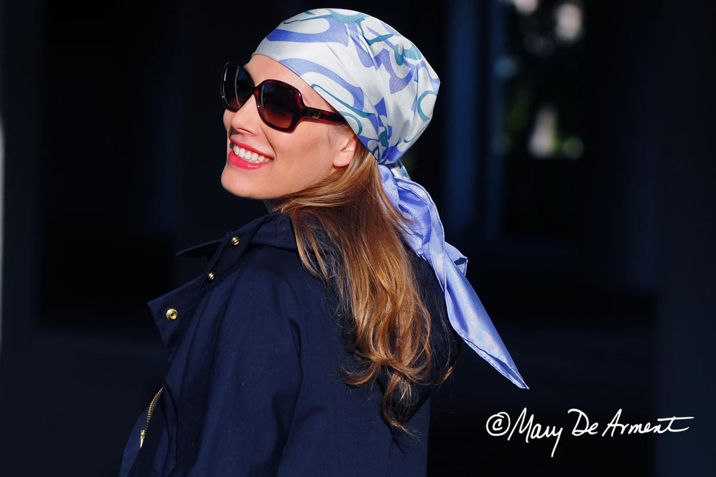 Cannon Beach periwinkle lavender green headscarf silk twill square scarf luxury accessory luxe gift fashion designer mary DeArment cashmere oblong