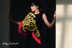 circus celebration black gold yellow red silk scarf scarves luxury accessory mothers day gifts luxe gift fashion designer mary DeArment