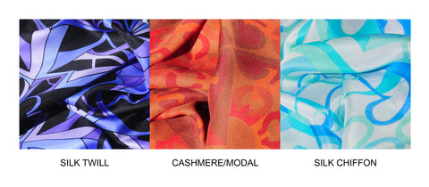 Mary DeArment fashion designer purple orange brown black blue chiffon silk scarf scarves silk cashmere luxe gift luxury accessory custom gifts celebrity style