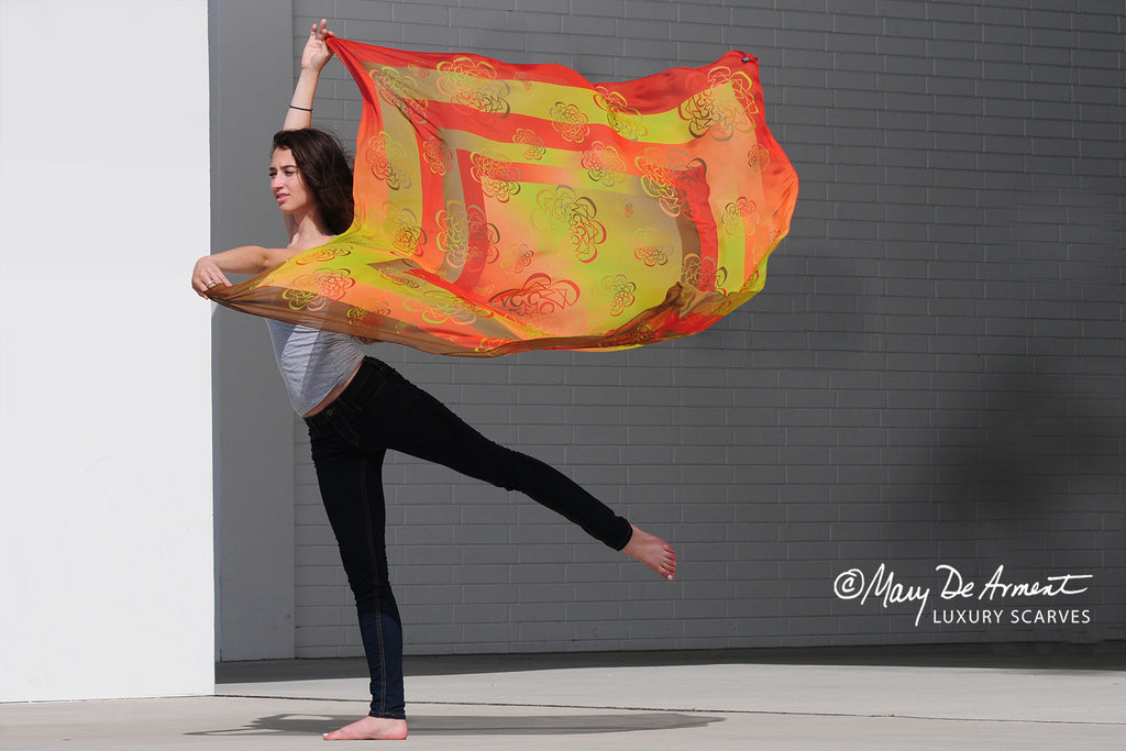 dance oversized silk chiffon scarf luxury accessory luxe gifts fashion designer mary DeArment custom designs orange green olive brown earth colors fall
