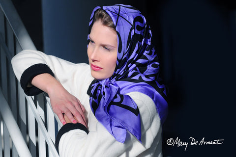 hijab persian woman iran iranian women headscarf silk scarves fashion designer mary DeArment square oblong black purple