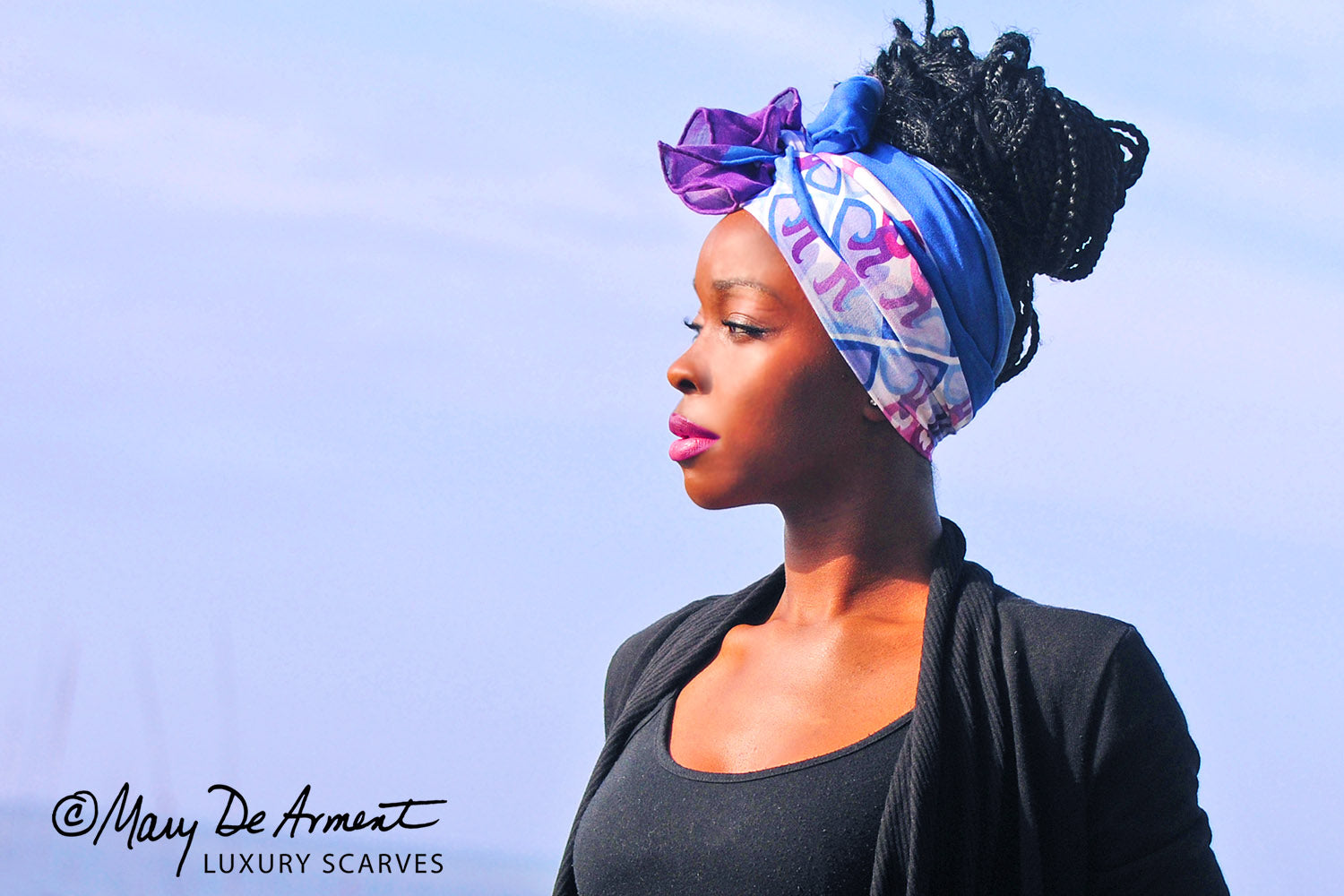Peace is a flower purple blue oblong headscarf cashmere silk luxury accessory diversity fashion designer mary DEArment