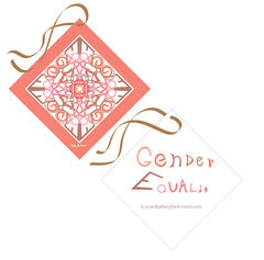 Gender Equality Peach Sheer Drape Word Art Mary DeArment custom designs scarf scarves cashmere silk modal