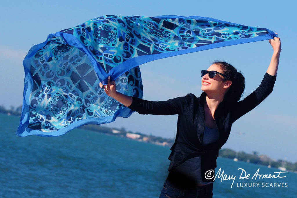 Goes Everywhere Thanksgiving oversized silk chiffon-square-scarf-luxury scarves fashion designer Mary dearment blue black diversity luxe gift