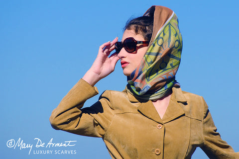 hijab persia iran headscarf fashion designer mary deArment custom designs multi colored peace cashmere silk oblong square