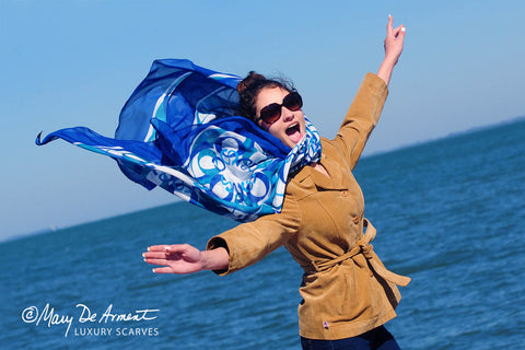 Taos city scarf oversized silk chiffon wind blue white fashion designer mary DeArment square oblong custom designs luxury accessory luxe gift Latina
