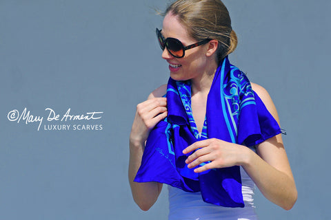 blue cannon beach scarf  independence day silk scarves fashion designer custom designs mary DeArment luxury accessory luxe gift