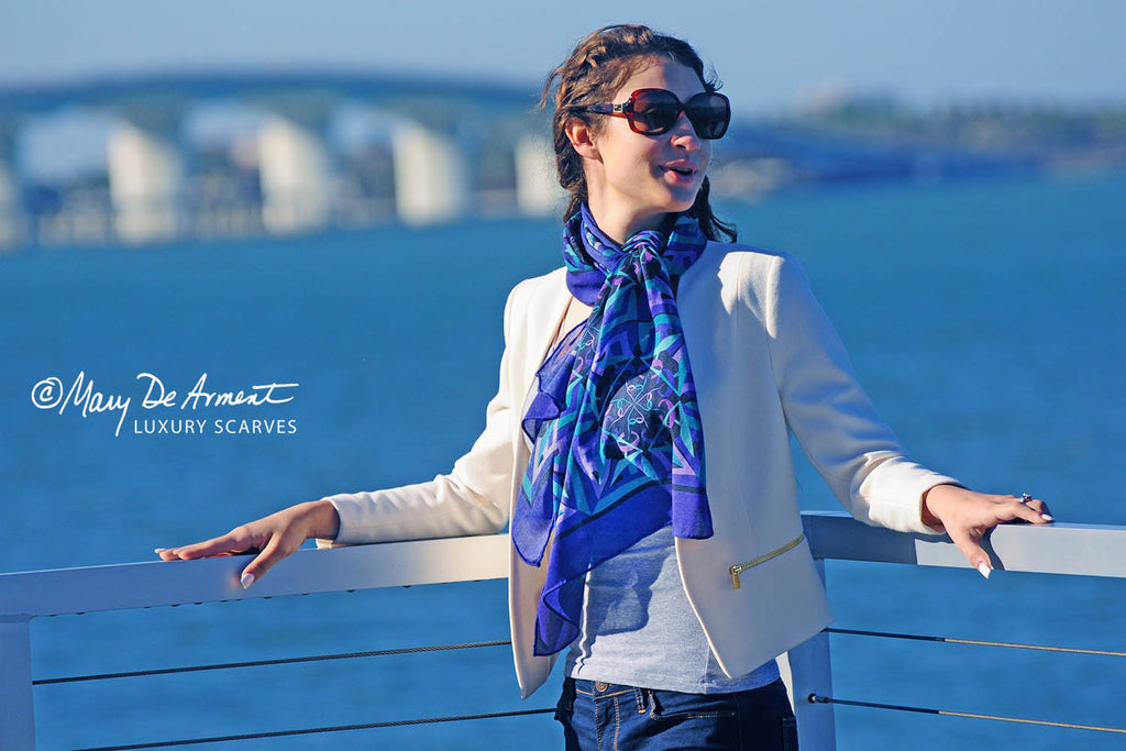 peace out of darkness cashmere oblong luxury scarf silk scarves head scarves fashion designer mary DeArment luxe gift