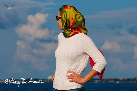 hijab persia iran headscarf fashion designer mary deArment custom designs multi colored peace cashmere silk oblong square red orange yellow green fall colors chiffon overszed